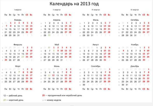 Выходные и праздничные дни в 2013 году, календарь