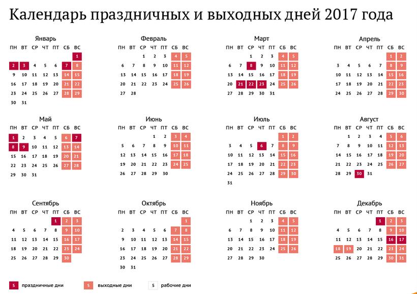 календарь на 2017 год с праздниками и выходными россия
